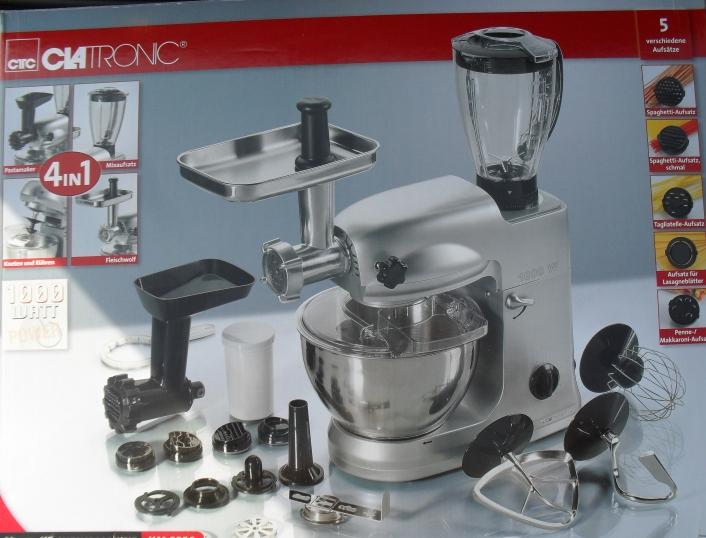 Hnětač+robot+mlýnek + mixer + stroj na těstoviny Clatronic