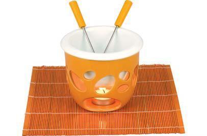 čokoládové fondue Eva Kera oranžové s podložkou