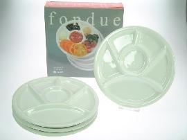 fondue talíře bílé dělené set 4 Ks